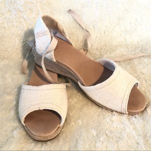 UGG  Espadrille Ankle Tie Wedge Sandals Size 12